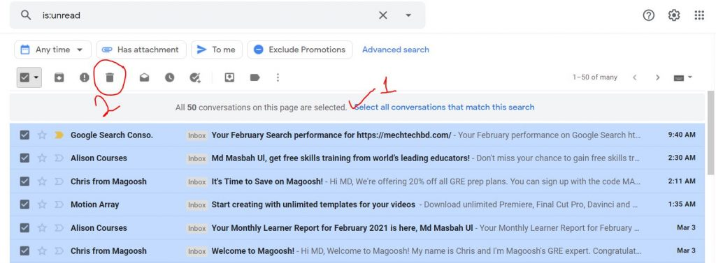 How To Delete unread Gmail Emails In Bulk